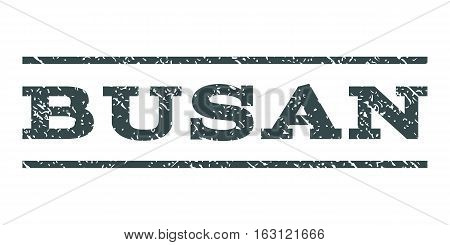 Busan watermark stamp. Text tag between horizontal parallel lines with grunge design style. Rubber seal stamp with unclean texture. Vector soft blue color ink imprint on a white background.