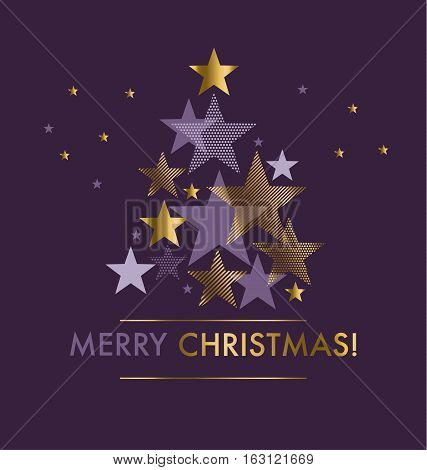 Concept star abstract vector illustration. Violet purple color background with Christmas tree and stars. New Year festive geometric vector motif.