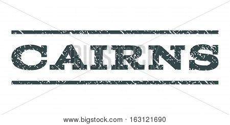 Cairns watermark stamp. Text tag between horizontal parallel lines with grunge design style. Rubber seal stamp with dirty texture. Vector soft blue color ink imprint on a white background.