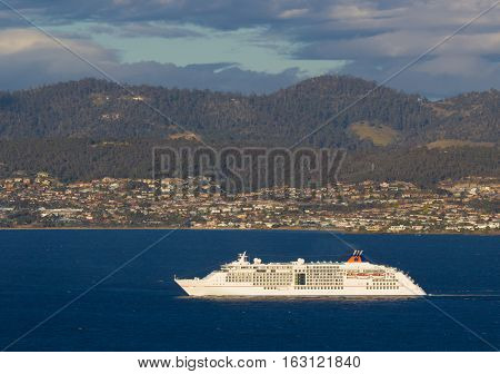 Hobart Australia - December 26 2016: Luxury passenger cruise ship Europa 2 in Hobart's Derwent estuary
