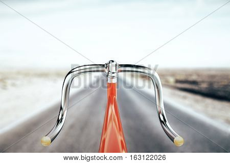 Close up of red bike handlebar on road backgrpound. Travel concept. 3D Rendering