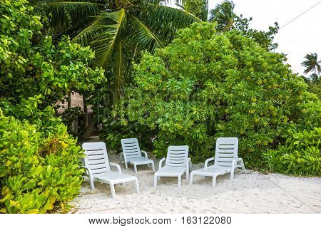 the cozy place on the beach of the Maldivian island