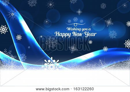 Vector We wishing you a Happy New Year abstract dark blue background with waves and snowflakes.