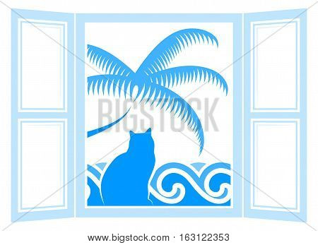 vector cat in the window and waves and palm tree outside the window isolated on white background