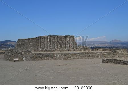 ruins at the Mesoamerican archaeological site Sultepec-Tecoaque known for its circular
