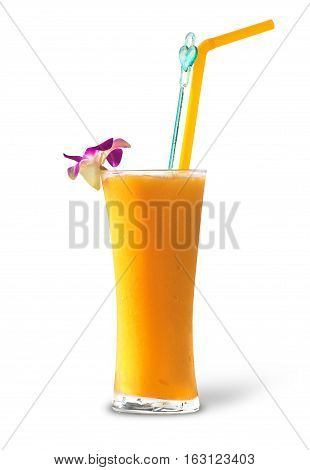 glass of fresh mango on the table on a white background