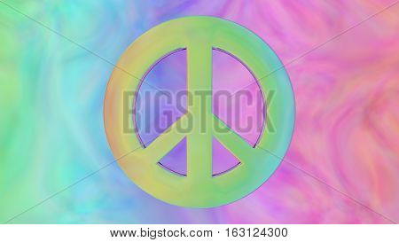 retro 60s peace sign with colorful background