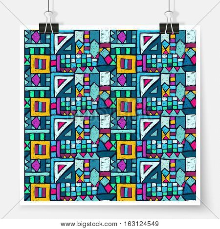 Geometric ethnic pattern poster on binder clips. Tribal doodles ornament. Seamless aztec texture for fabric design interior elements wallpapers backgrounds and printed products.