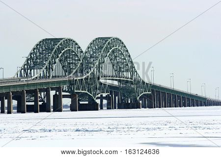 The Robert Mosses Bridges with The Great South Bay frozen underneath.