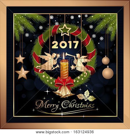 Christmas greeting card. Merry Christmas. New Year's Eve 2017. Wreath of fir branches with jingle bells, burning candle and Christmas angels. Vector illustration