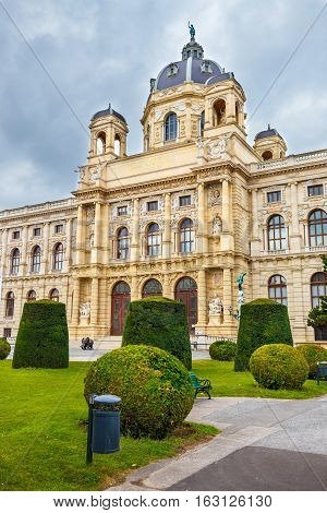 Famous Natural History Museum With Park And Sculpture In Vienna, Austria