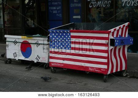 n-us-nv  Las Vegas, Nevada - 2008-01-03:  Garbage Dumpsters Painted as Flags