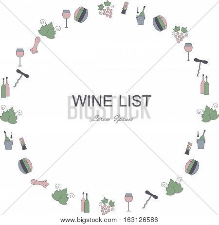 Wine list restaurant menu circle template. Line style green, blue, pink, dark blue icons on white. Perfect wine design element stock vector illustration