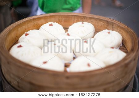 Steamed stuff bun or salapao. Chinese food concept.