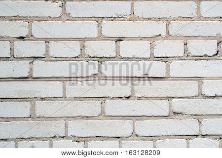 brick wall of white silicate brick closeup