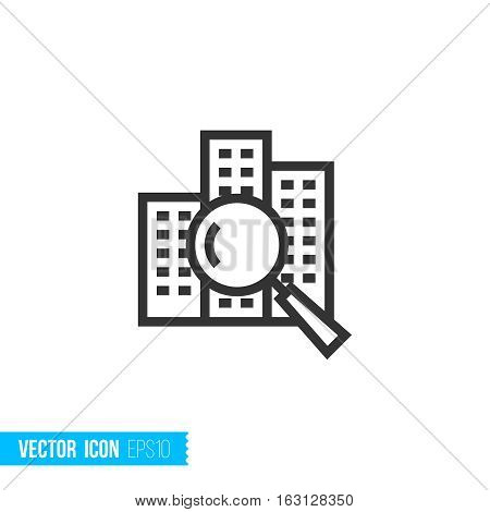 Search real estate. Real estate outline vector icon