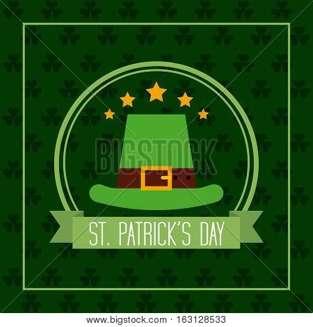 Saint Patrick's Day card with irish hat icon. colorful design. vector illustration