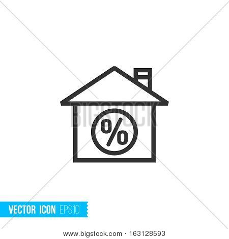 Mortgage loan concept. Real estate outline vector icon