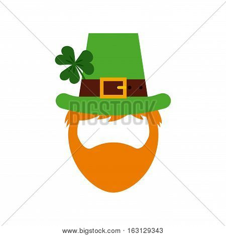 cartoon irish leprechaun man face icon over white background. Saint Patrick's Day concept. colorful design. vector illustration