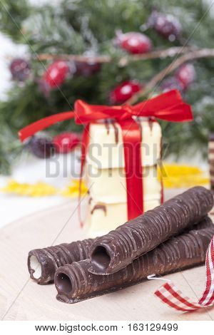 chocolate and a cookie as a delicacy and decorations Selective focus and small depth of field