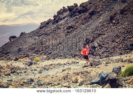 El Teide, Tenerife, June 06, 2015: Unidentified People Runs From The Top Of El Teide Volcano, Teneri