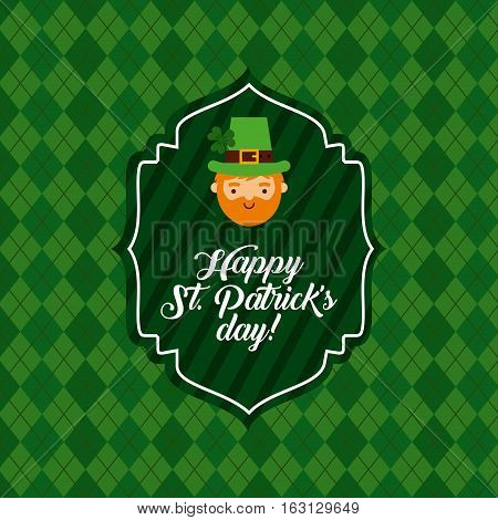 Saint Patrick's Day card with irish leprechaun face icon. colorful design. vector illustration
