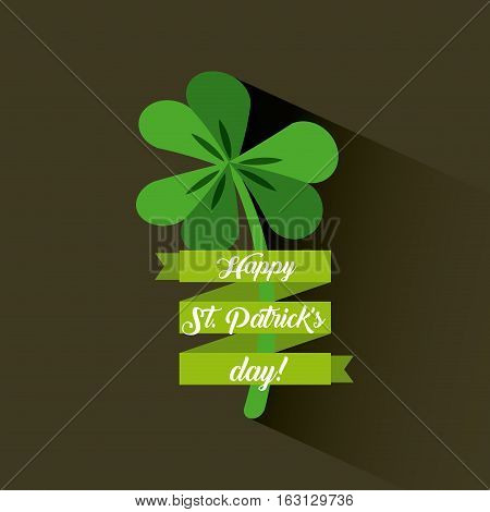 Saint Patrick's Day card with clover icon. colorful design. vector illustration