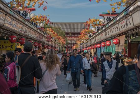 TOKYO, JAPAN - OCTOBER 12 ,2016 : Nakamise shopping street in Asakusa . Walkway shopping road to Senso-ji Temple.