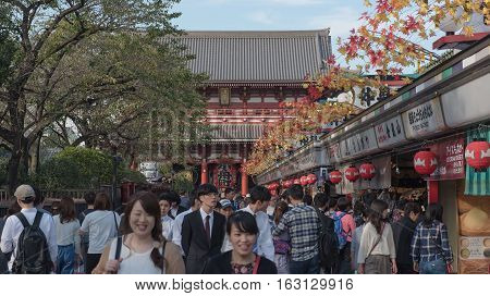 TOKYO, JAPAN - OCTOBER 12 ,2016 : Nakamise shopping street in Asakusa . Walkway shopping road to Senso-ji Temple.