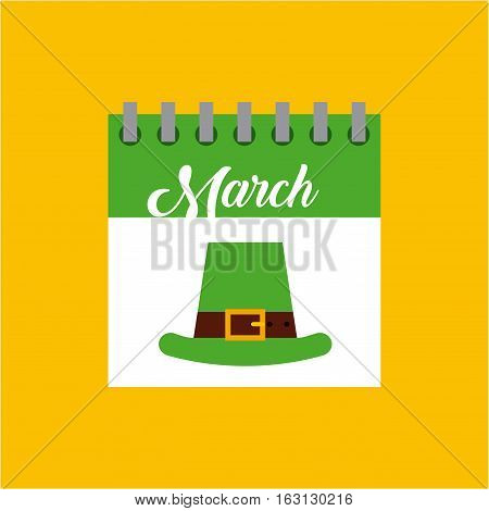 calendar on march month with irish hat icon over yellow background. Saint Patrick's Day concept. colorful design. vector illustration