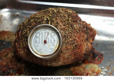 Meat with meat thermometer just out of the oven