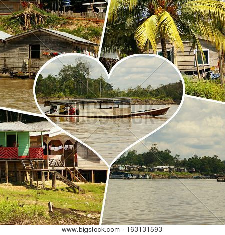 Collage of Peru, Peruvian Amazonas landscape. The photo present typical indian tribes settlement in the Amazon