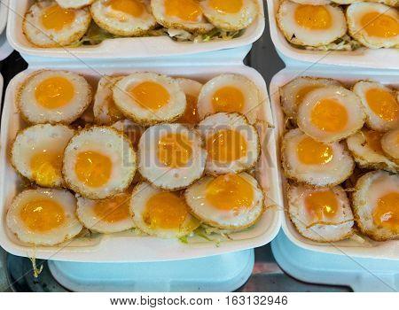 Fried quali eggs on market at Bangkok