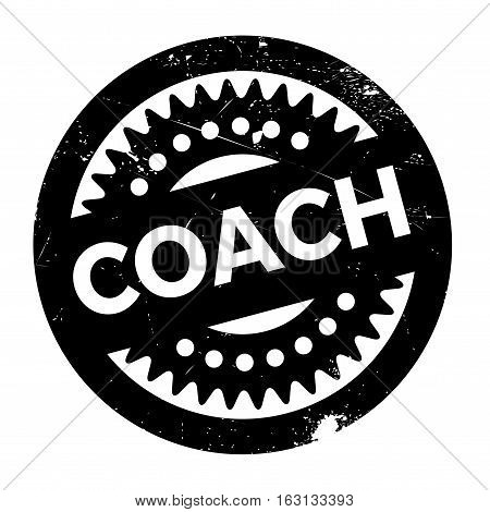 Coach stamp. Grunge design with dust scratches. Effects can be easily removed for a clean, crisp look. Color is easily changed.