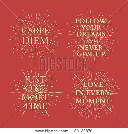 Motivational quotes on sun burst. T-shirt print. vector illustration