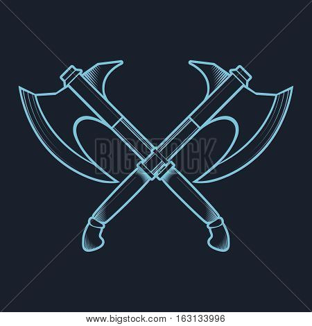 Crossed Battle Axes isolated on white background vector illustration