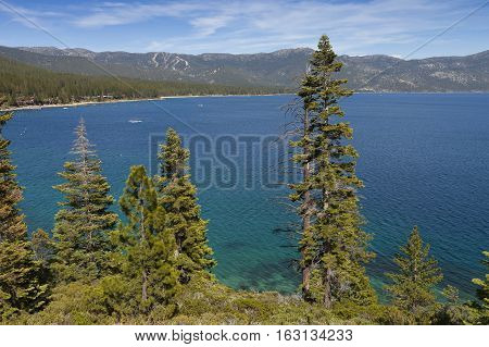 Lake Tahoe California with beautiful blue sky and water. Forested shoreline.
