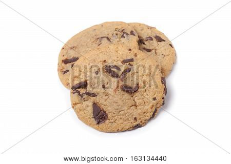 Three Chocolate Chip Cookies Isolated on White