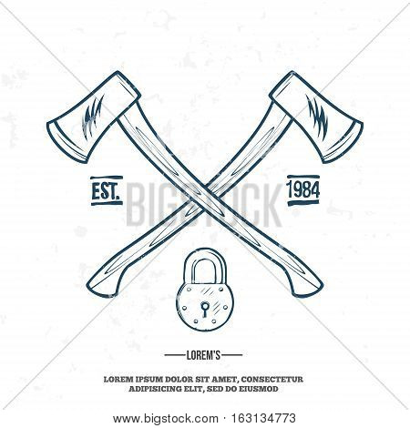 Crossed Axes with Padlock vector t-shirt print illustration