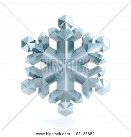 Snowflake 3D render illustration isolated on white background