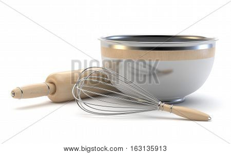 Wire whisk wooden rolling pin and chrome bowl. 3D render illustration isolated on white background