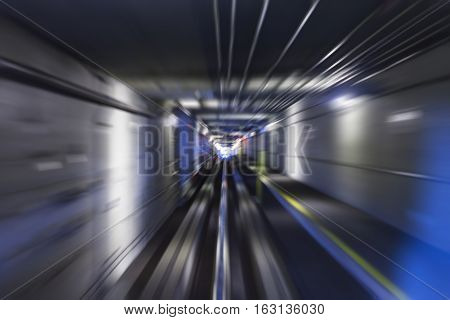 Motion Blurred Subway Tunnel shot from fast moving rail car.