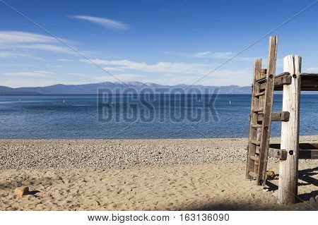 Lake Tahoe California Beach with Life Guard platform and ladder.