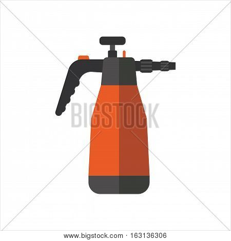 Watering sprayer isolated on white. Vector illustration steel metallic single horticulture garden equipment. Irrigation agriculture metal cultivate tool.