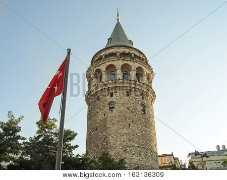 Tourists On The Top Of Galata Tower In Istanbul