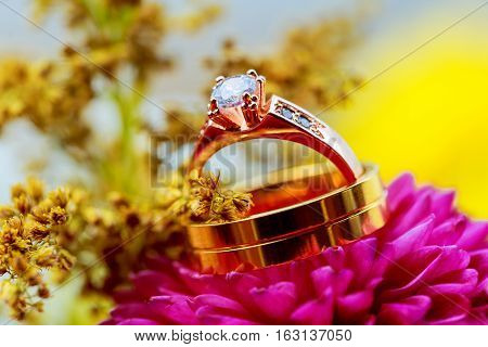 Wedding Rings Pink Dahlias Floral Arrangement For A  With