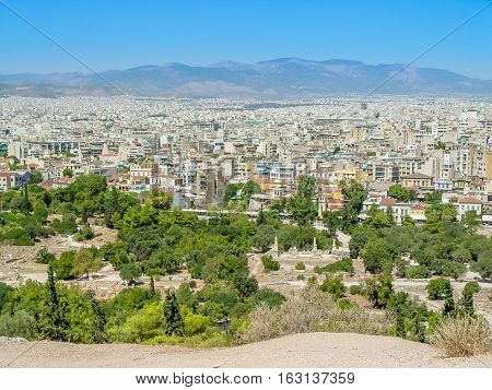 Aerial View Of Athens City The Capital Of  Greece