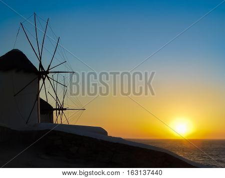 The Sunset At The Windmills In Mykonos