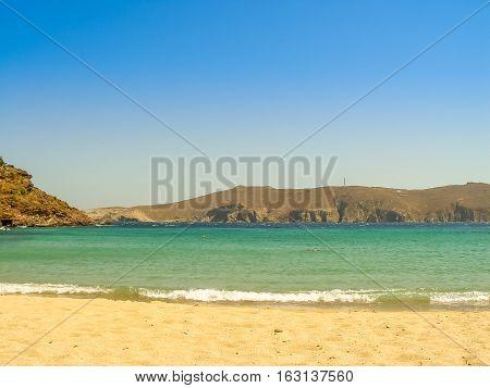 Ftelia Beach In Mykonos Aegean Sea In Greece