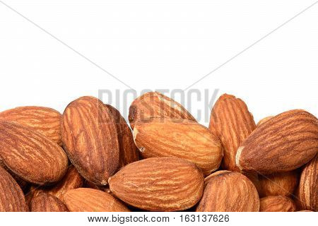 Closeup of Almonds on a white background